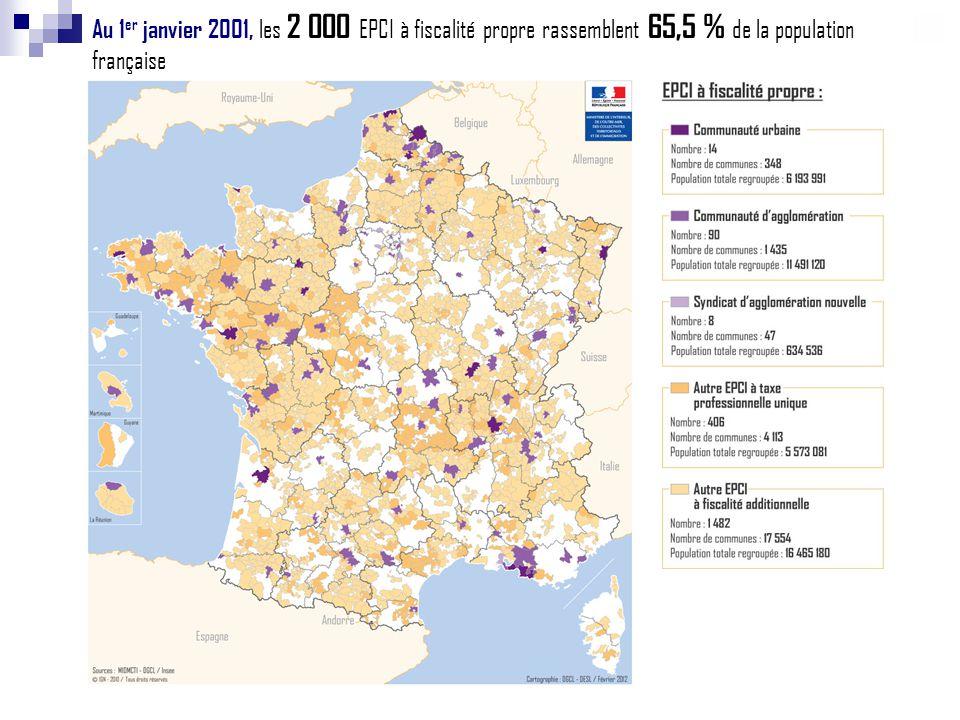 Au 1er janvier 2001, les 2 000 EPCI à fiscalité propre rassemblent 65,5 % de la population française