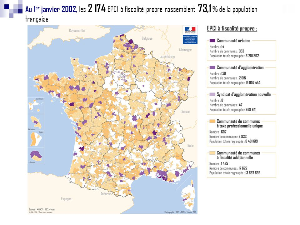 Au 1er janvier 2002, les 2 174 EPCI à fiscalité propre rassemblent 73,1 % de la population française