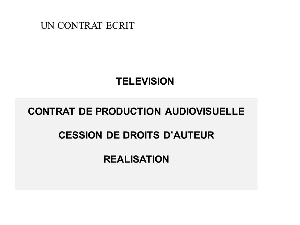 CONTRAT DE PRODUCTION AUDIOVISUELLE CESSION DE DROITS D'AUTEUR