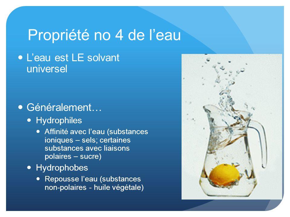Propriété no 4 de l'eau L'eau est LE solvant universel Généralement…