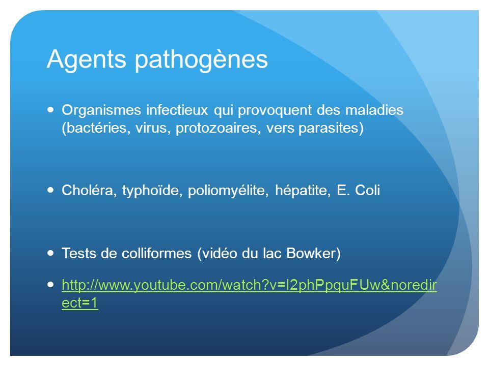 Agents pathogènes Organismes infectieux qui provoquent des maladies (bactéries, virus, protozoaires, vers parasites)