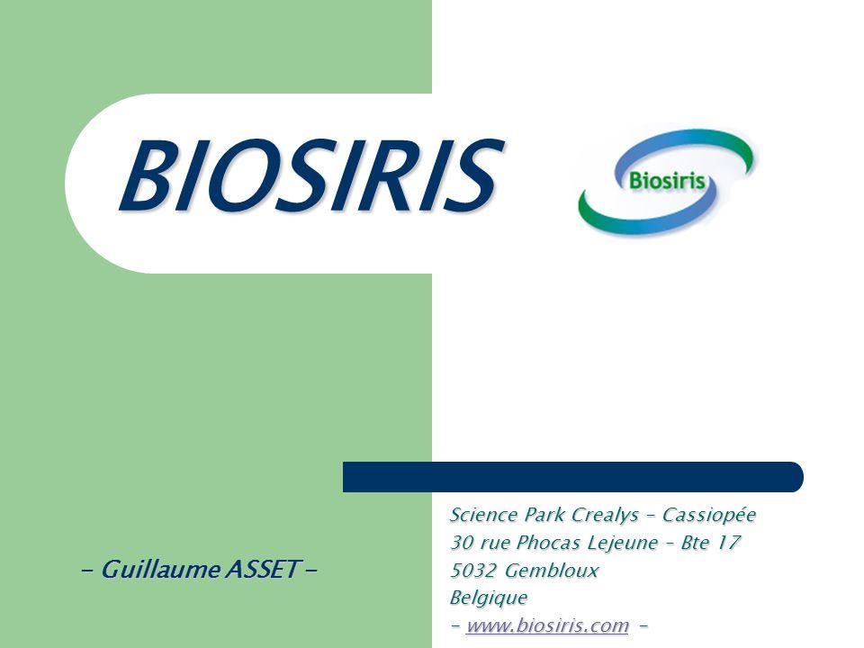 BIOSIRIS - Guillaume ASSET - Science Park Crealys - Cassiopée