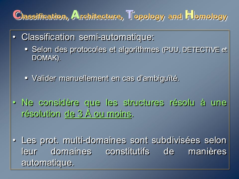 Classification, Architecture, Topology and Homology