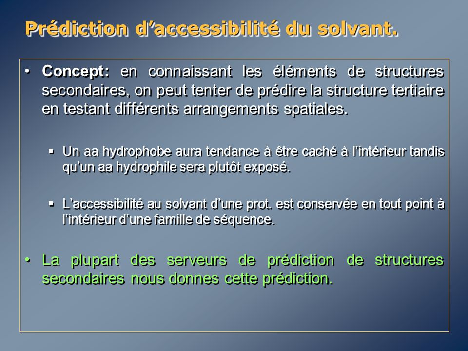 Prédiction d'accessibilité du solvant.