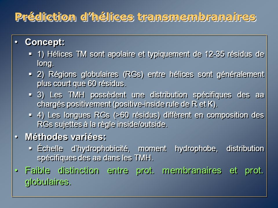 Prédiction d'hélices transmembranaires