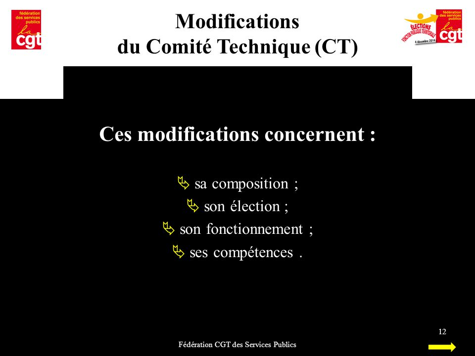 du Comité Technique (CT) Ces modifications concernent :