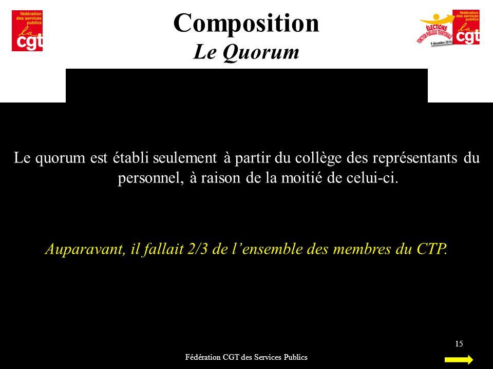 Composition Le Quorum. Le quorum est établi seulement à partir du collège des représentants du personnel, à raison de la moitié de celui-ci.