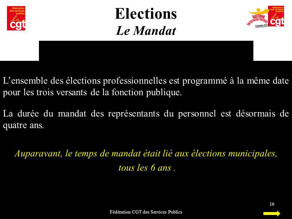 Elections Le Mandat. L'ensemble des élections professionnelles est programmé à la même date pour les trois versants de la fonction publique.