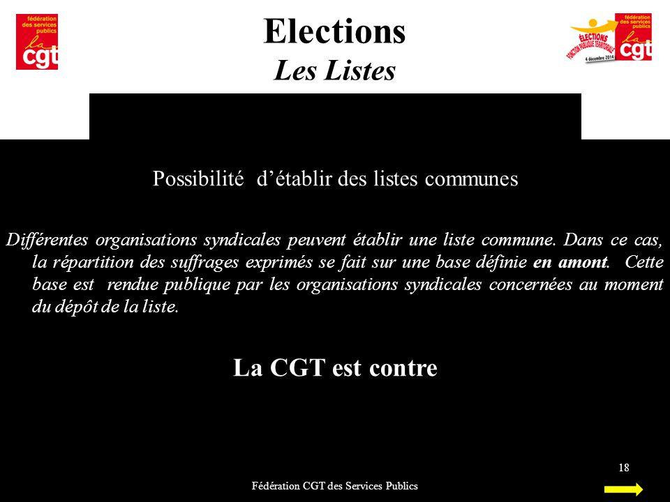 Elections Les Listes La CGT est contre