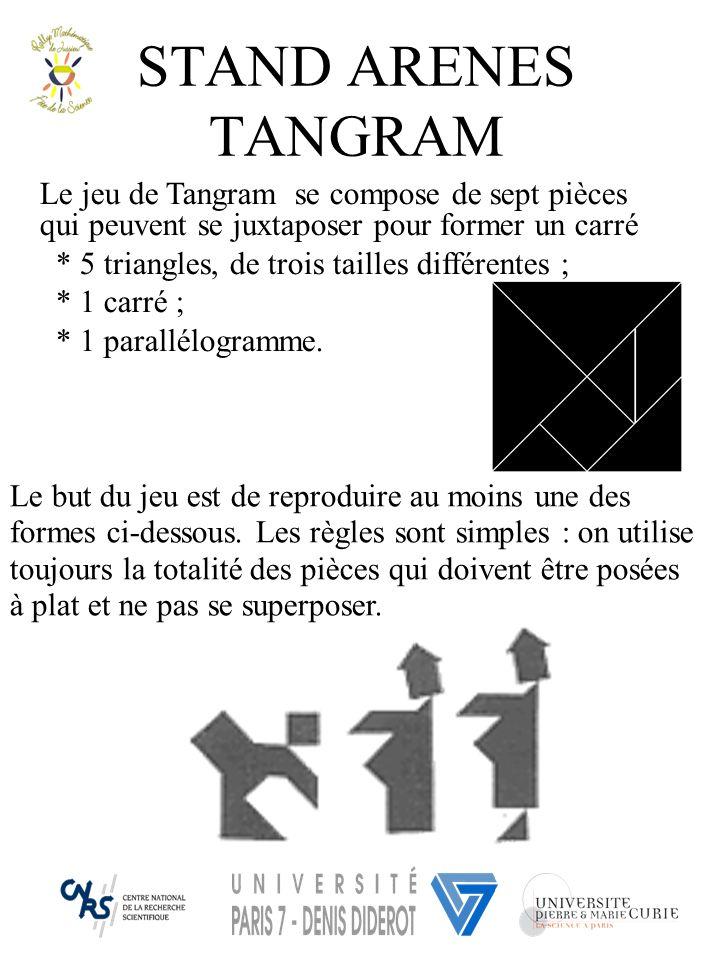 STAND ARENES TANGRAM Le jeu de Tangram se compose de sept pièces qui peuvent se juxtaposer pour former un carré.