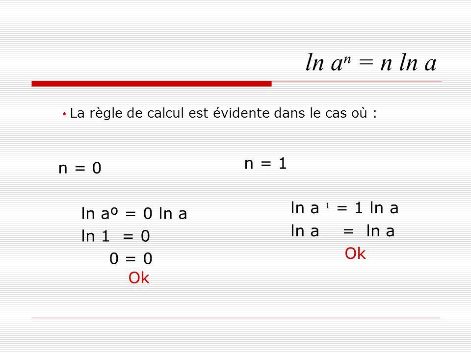 ln aⁿ = n ln a n = 0 n = 1 ln a ¹ = 1 ln a ln aº = 0 ln a ln a = ln a