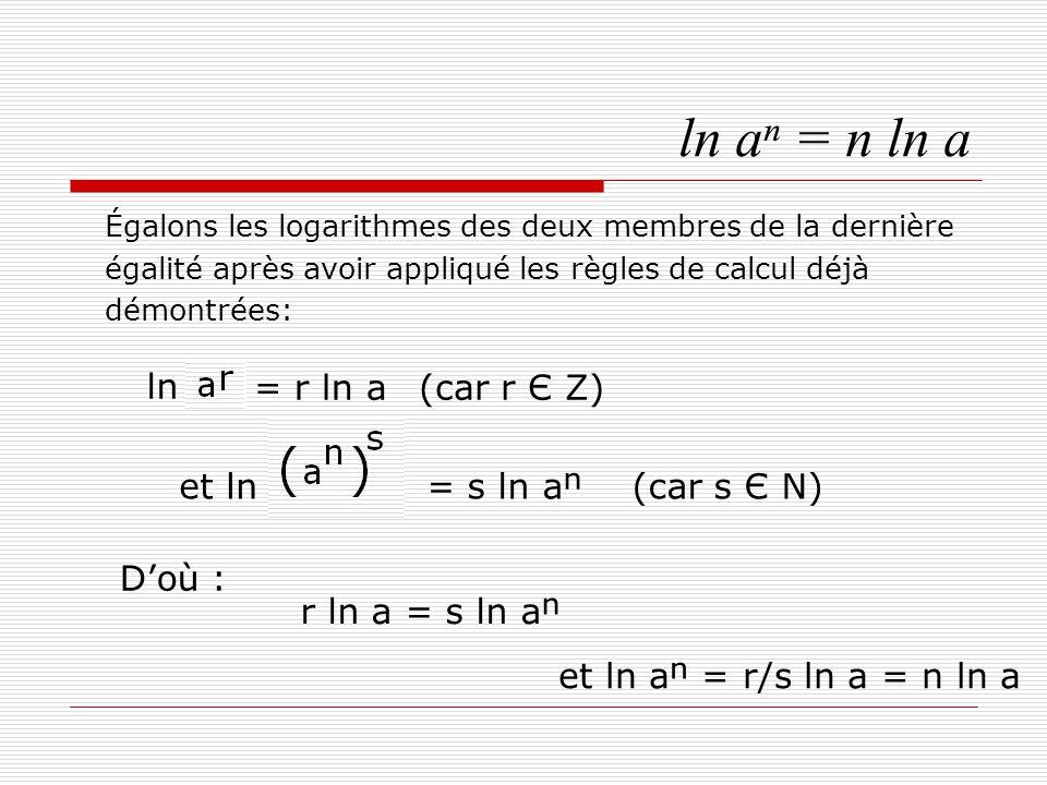 ln aⁿ = n ln a ln = r ln a (car r Є Z) = s ln aⁿ (car s Є N) D'où :