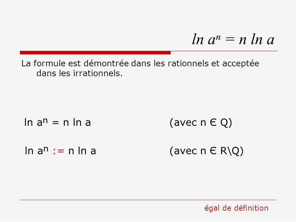 ln aⁿ = n ln a ln aⁿ := n ln a (avec n Є R\Q)