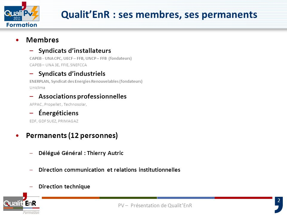Qualit'EnR : ses membres, ses permanents