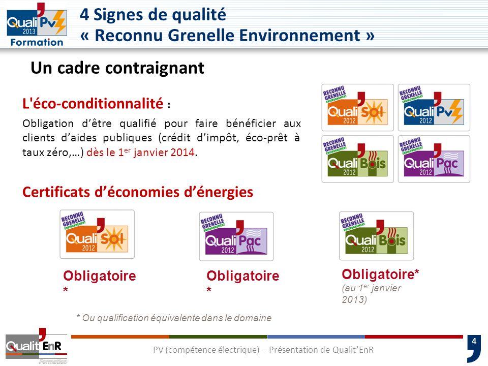 4 Signes de qualité « Reconnu Grenelle Environnement »