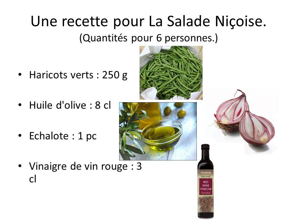 Une recette pour La Salade Niçoise. (Quantités pour 6 personnes.)