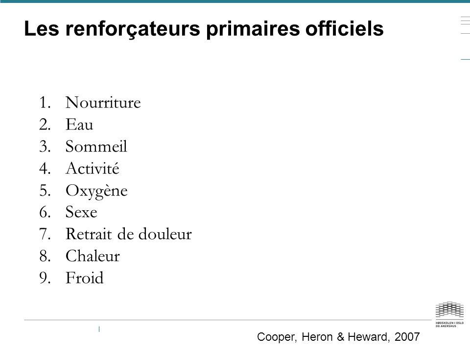 Les renforçateurs primaires officiels