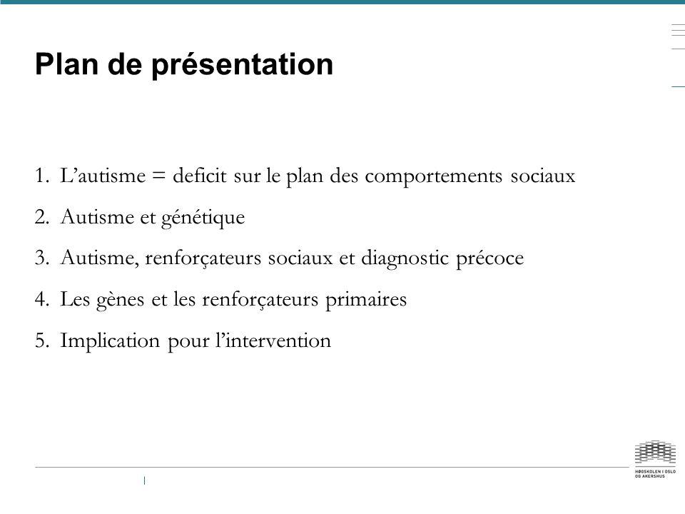 Plan de présentation L'autisme = deficit sur le plan des comportements sociaux. Autisme et génétique.