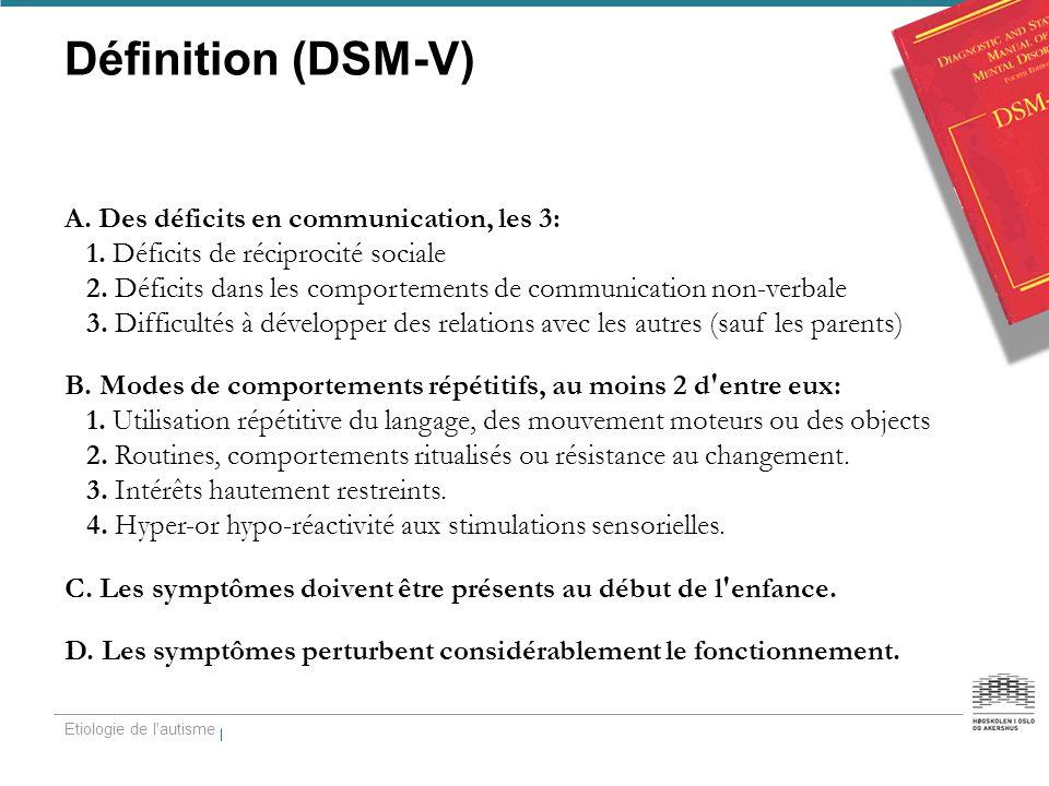 Définition (DSM-V) A. Des déficits en communication, les 3: