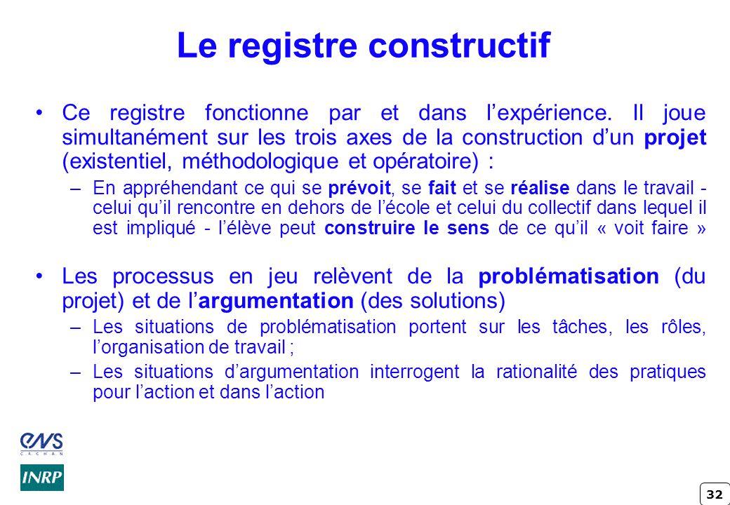 Le registre constructif