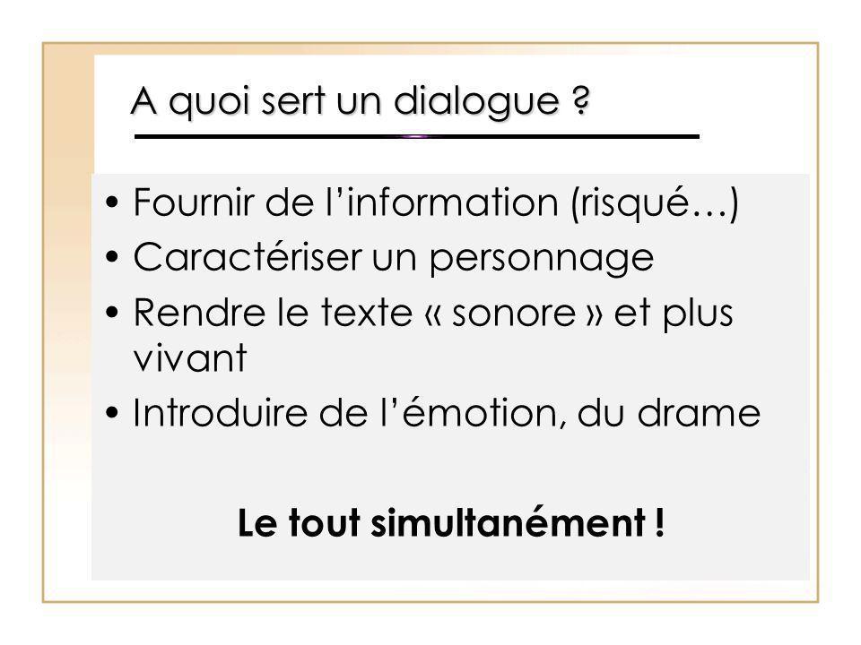 A quoi sert un dialogue Fournir de l'information (risqué…) Caractériser un personnage. Rendre le texte « sonore » et plus vivant.
