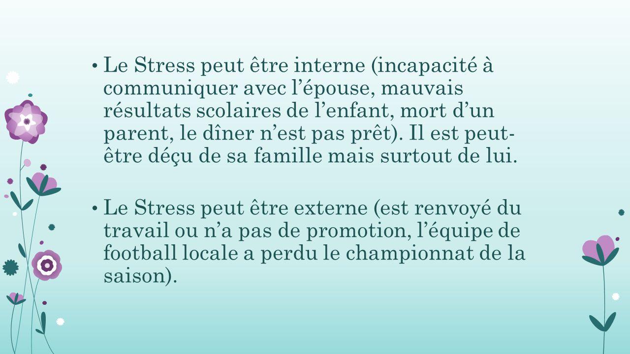 Le Stress peut être interne (incapacité à communiquer avec l'épouse, mauvais résultats scolaires de l'enfant, mort d'un parent, le dîner n'est pas prêt). Il est peut- être déçu de sa famille mais surtout de lui.
