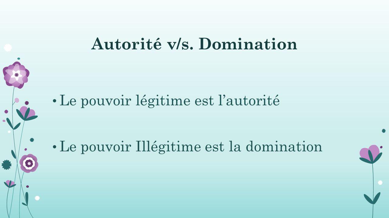 Autorité v/s. Domination
