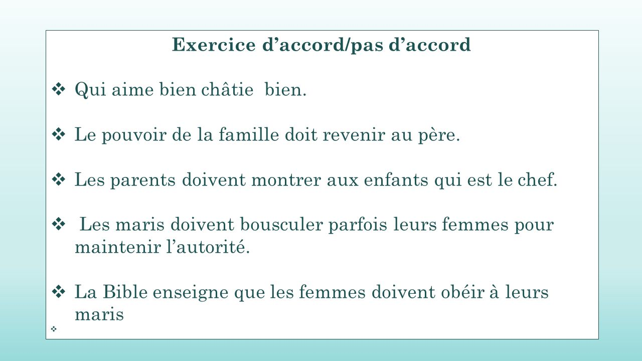 Exercice d'accord/pas d'accord