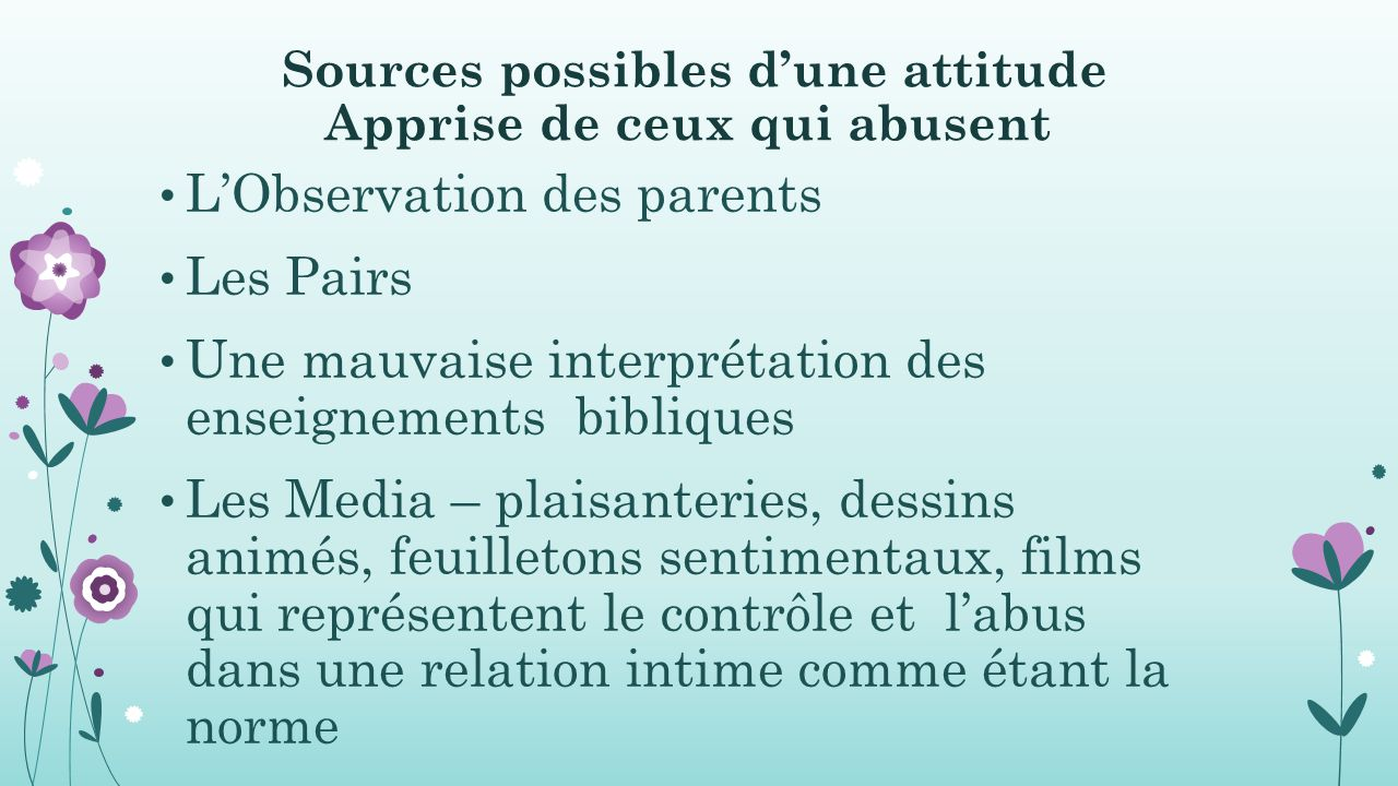 Sources possibles d'une attitude Apprise de ceux qui abusent