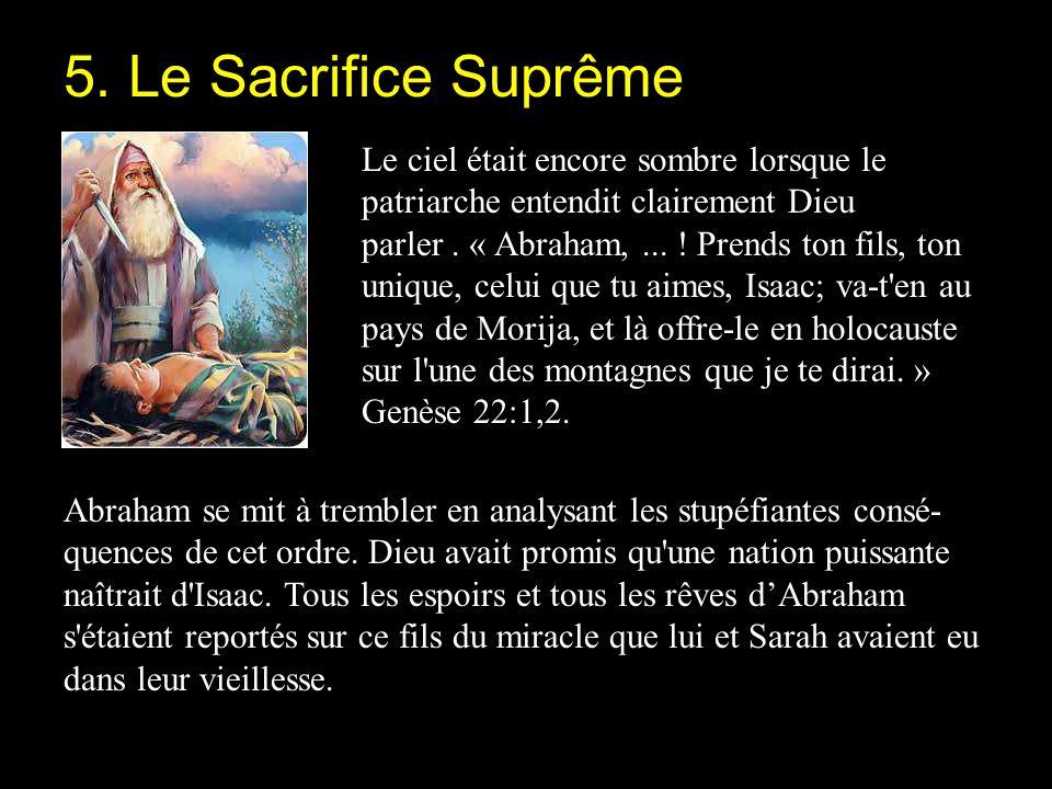 5. Le Sacrifice Suprême Le ciel était encore sombre lorsque le patriarche entendit clairement Dieu.
