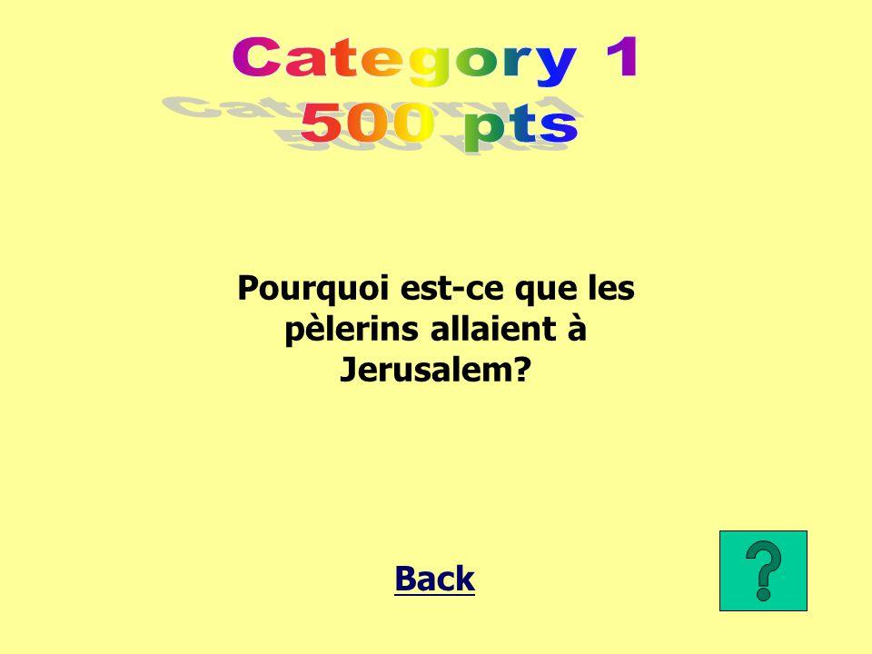 Pourquoi est-ce que les pèlerins allaient à Jerusalem