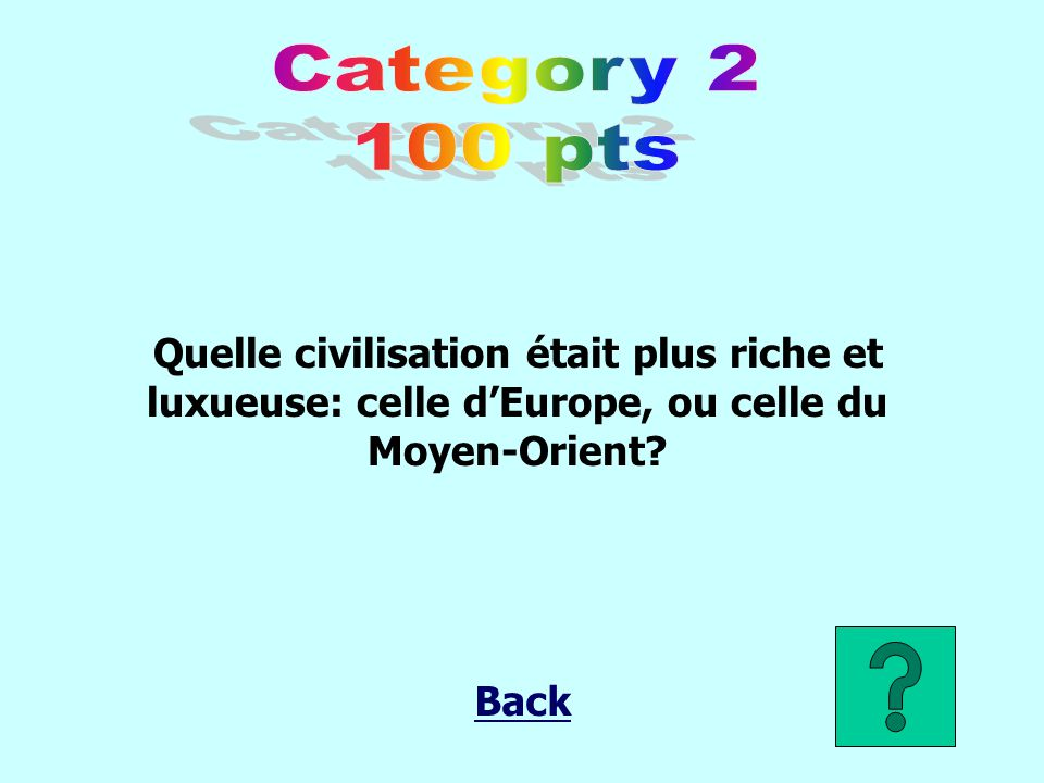 Category 2 100 pts. Quelle civilisation était plus riche et luxueuse: celle d'Europe, ou celle du Moyen-Orient