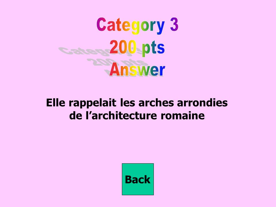 Elle rappelait les arches arrondies de l'architecture romaine