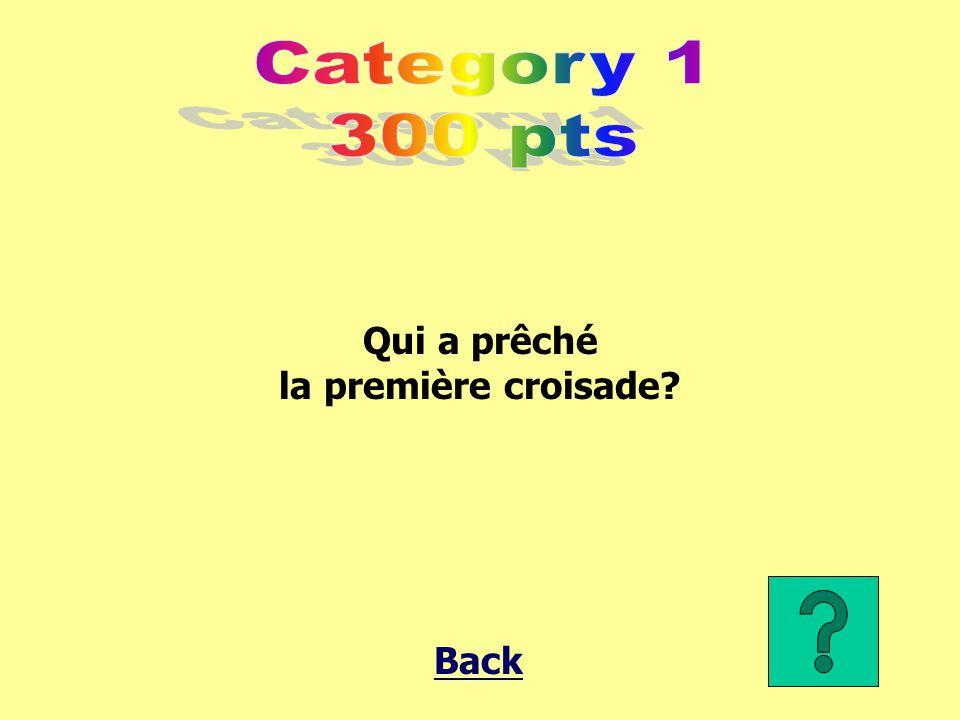 Category 1 300 pts Qui a prêché la première croisade Back