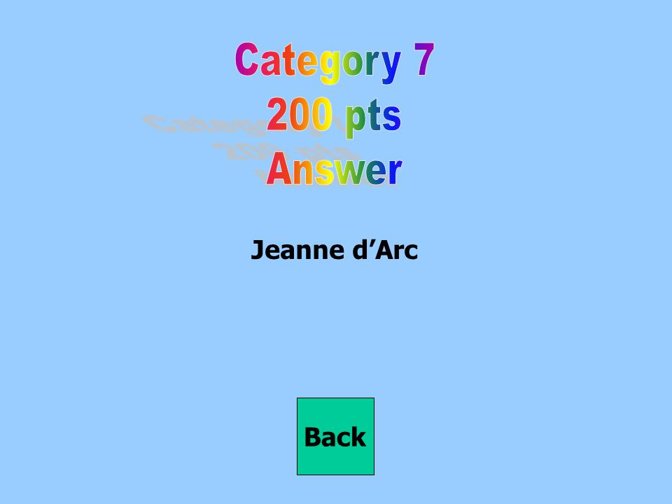 Category 7 200 pts Answer Jeanne d'Arc Back