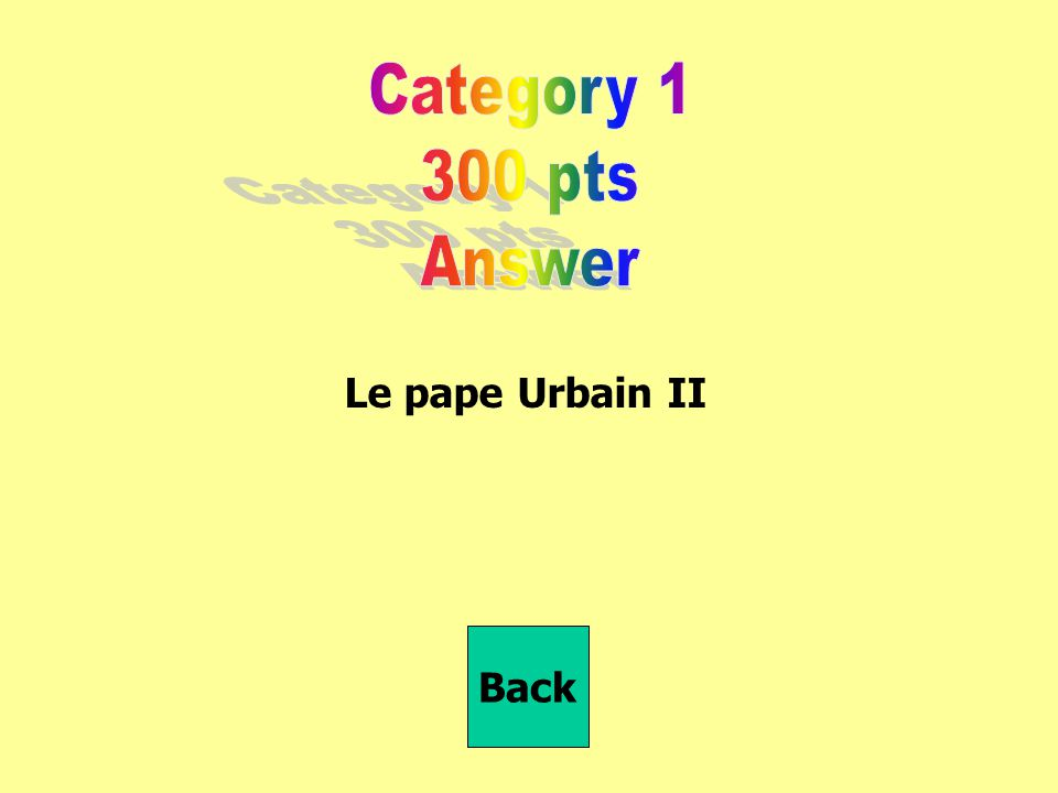Category 1 300 pts Answer Le pape Urbain II Back