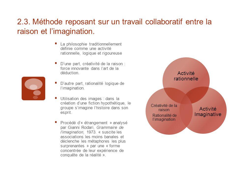 2.3. Méthode reposant sur un travail collaboratif entre la raison et l'imagination.