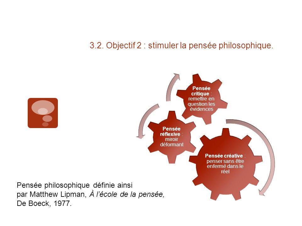 3.2. Objectif 2 : stimuler la pensée philosophique.