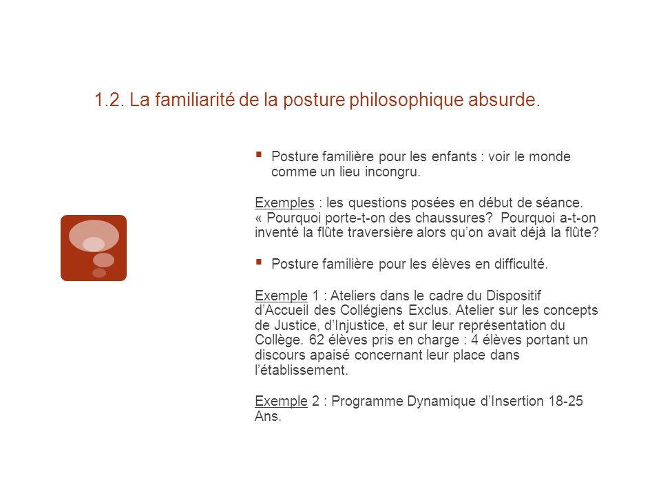 1.2. La familiarité de la posture philosophique absurde.