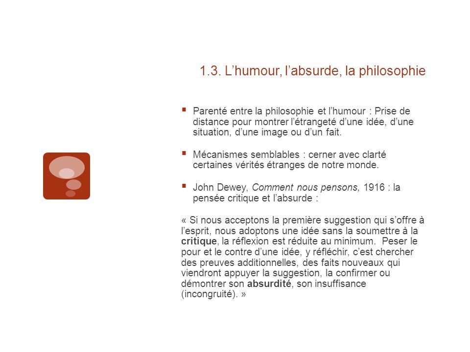 1.3. L'humour, l'absurde, la philosophie