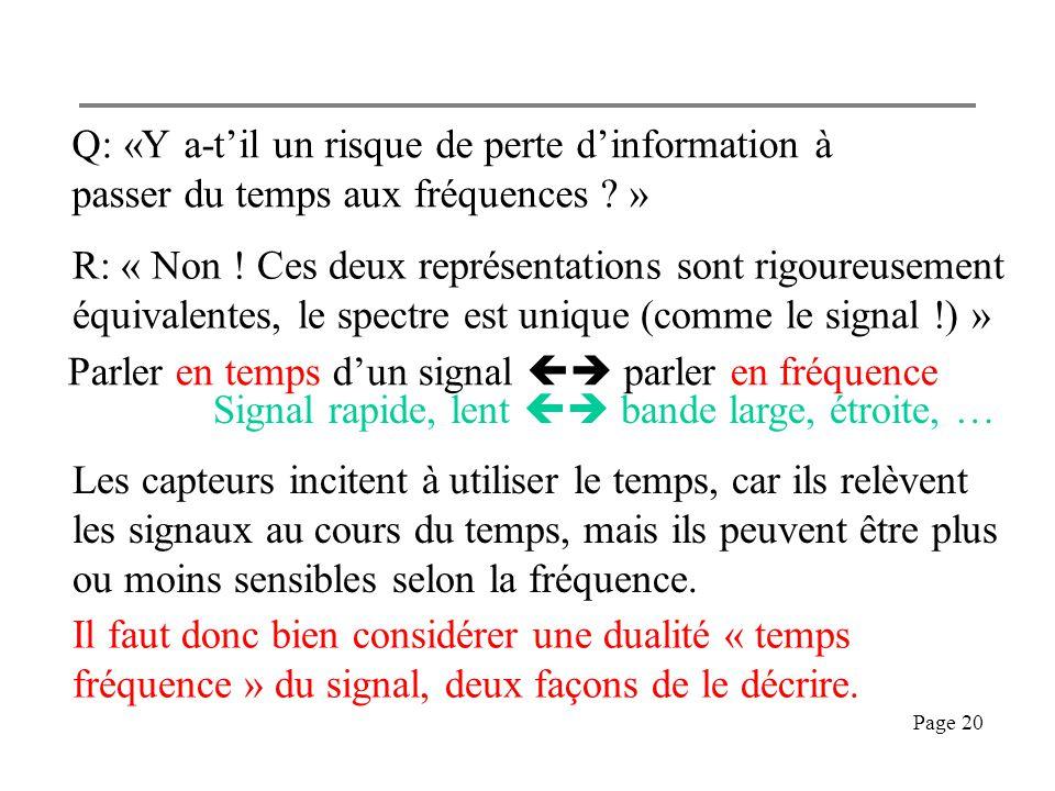 Q: «Y a-t'il un risque de perte d'information à passer du temps aux fréquences »