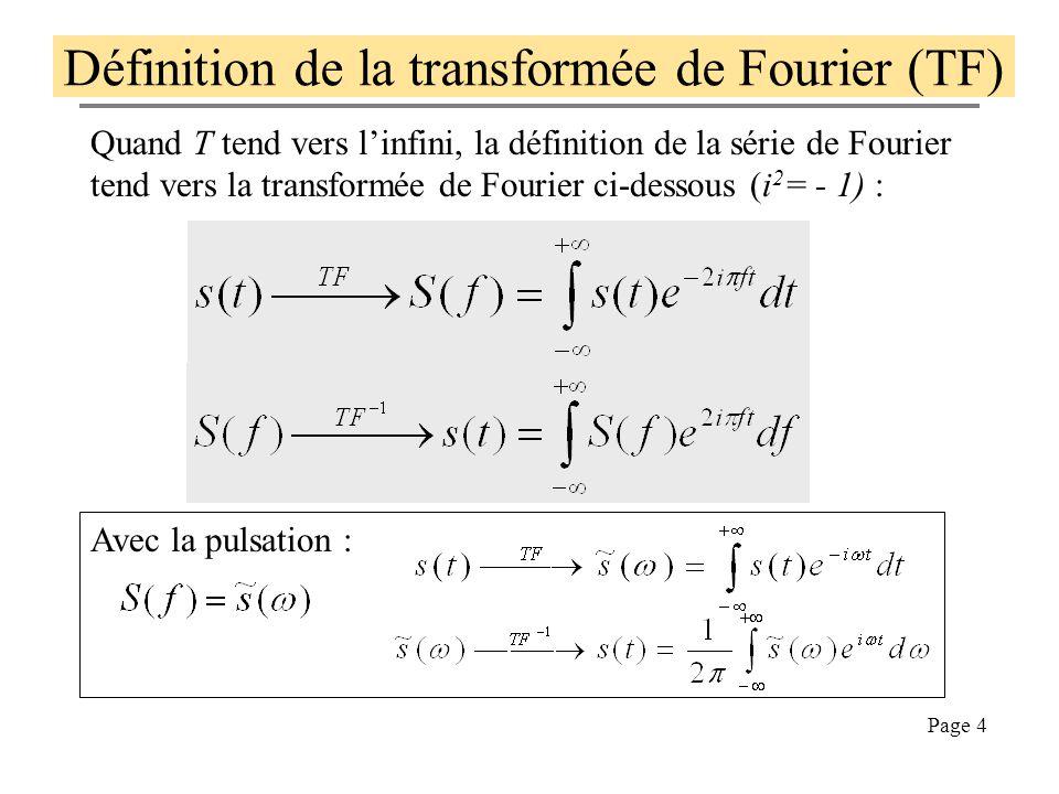 Définition de la transformée de Fourier (TF)