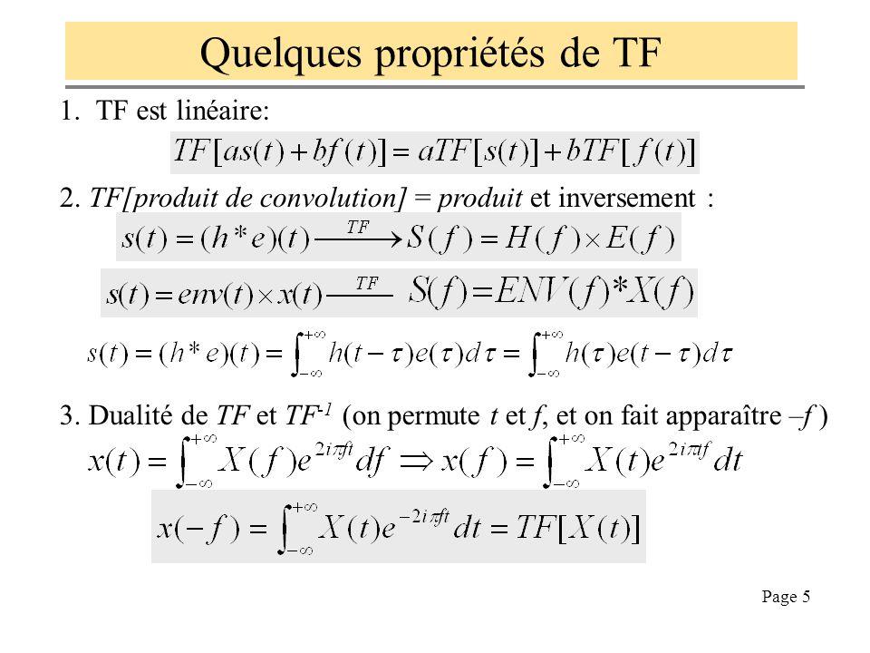 Quelques propriétés de TF