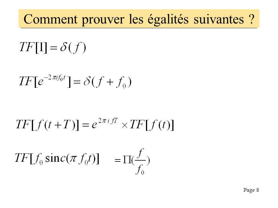Comment prouver les égalités suivantes