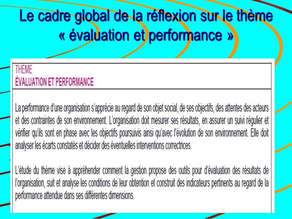 Le cadre global de la réflexion sur le thème « évaluation et performance »