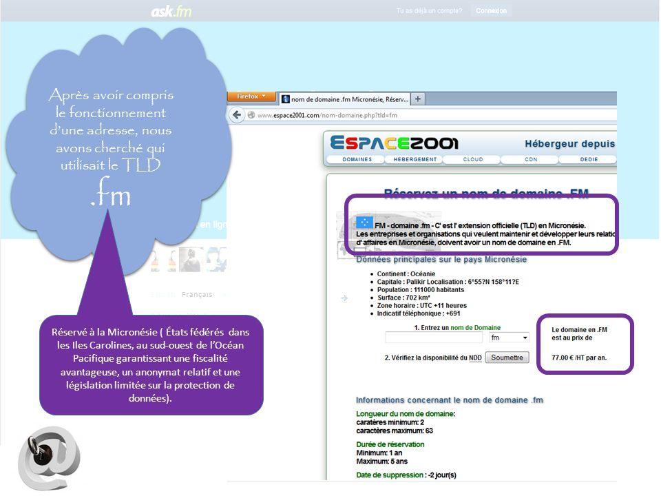 Après avoir compris le fonctionnement d'une adresse, nous avons cherché qui utilisait le TLD .fm