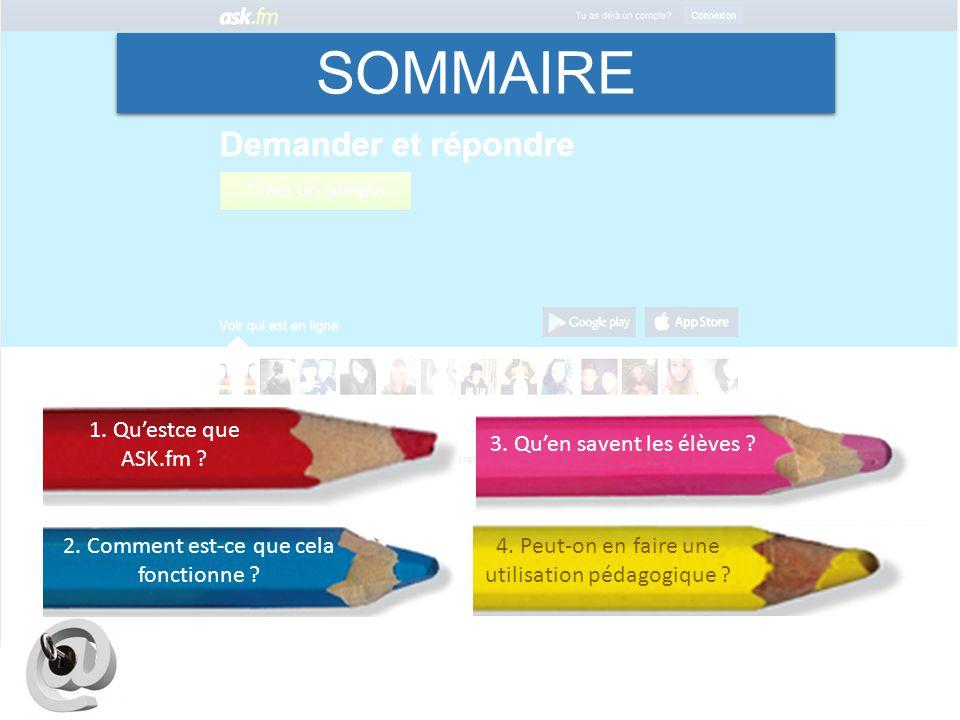 SOMMAIRE 1. Qu'estce que ASK.fm 3. Qu'en savent les élèves