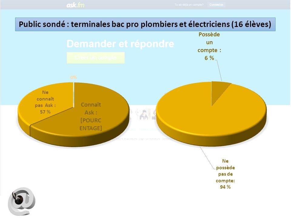 Public sondé : terminales bac pro plombiers et électriciens (16 élèves)