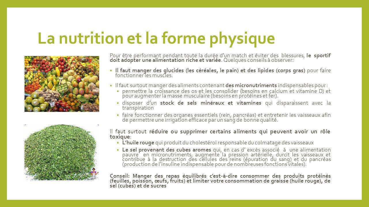 La nutrition et la forme physique