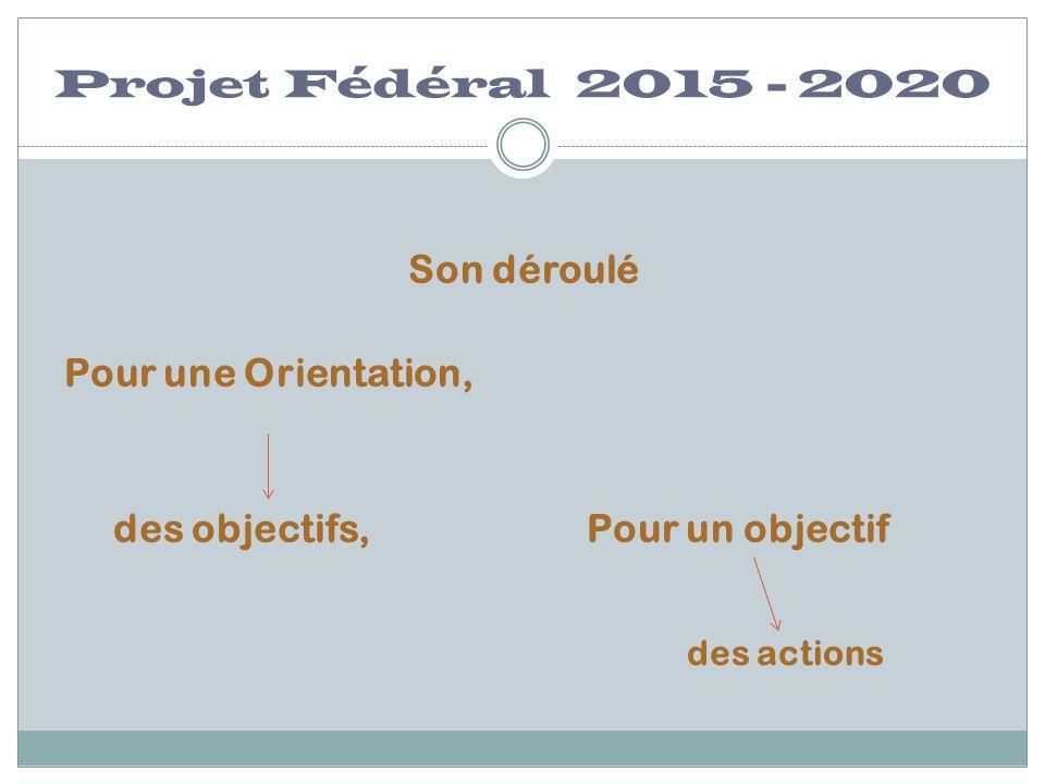 Projet Fédéral 2015 - 2020 Son déroulé Pour une Orientation,